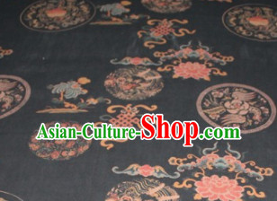 Chinese Traditional Cheongsam Classical Lucky Peony Pattern Black Gambiered Guangdong Gauze Asian Satin Drapery Brocade Silk Fabric