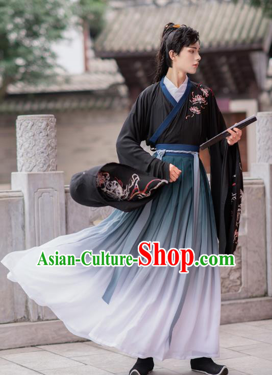Chinese Ancient Swordsman Hanfu Clothing Antique Traditional Jin Dynasty Nobility Childe Historical Costume for Men