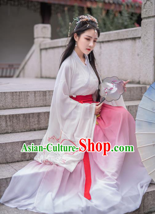 Chinese Ancient Court Princess Hanfu Dress Antique Traditional Southern and Northern Dynasties Historical Costume for Women
