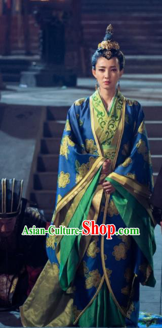 The Legend of Deification Chinese Ancient Shang Dynasty Imperial Consort Su Daji Historical Costume and Headpiece for Women