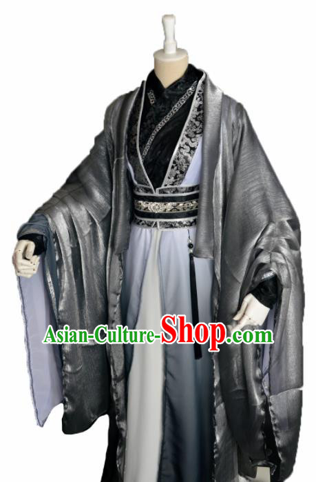 Customized Chinese Cosplay Swordsman Costume Ancient Royal Highness Black Clothing for Men