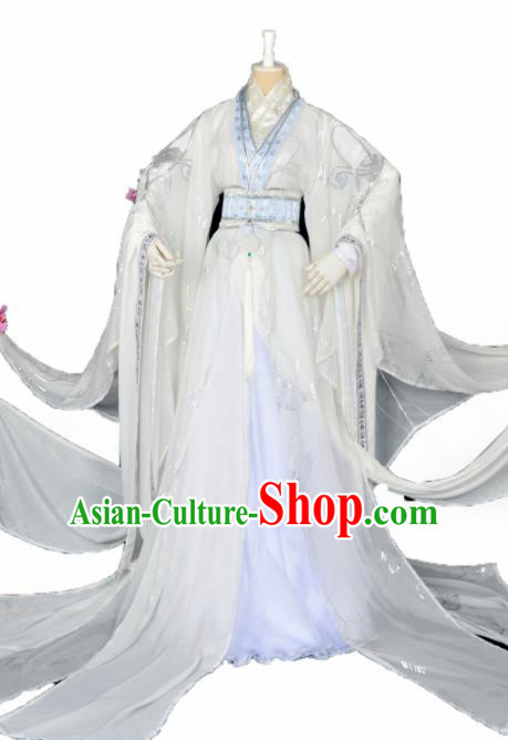 Customized Chinese Cosplay Swordsman Costume Ancient Royal Highness White Clothing for Men