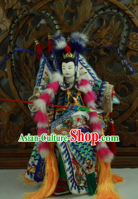 Chinese Traditional General Lv Bu Marionette Puppets Handmade Puppet String Puppet Wooden Image Arts Collectibles