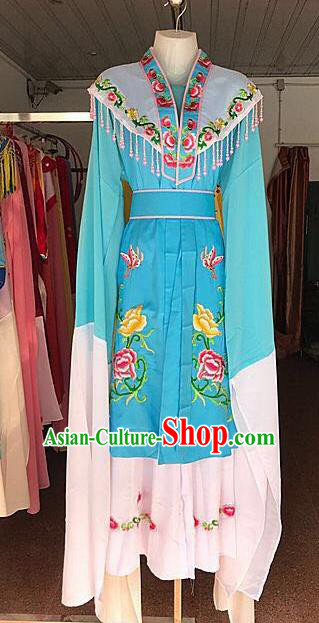 Traditional Chinese Handmade Beijing Opera Diva Costumes Ancient Peri Princess Blue Dress for Women