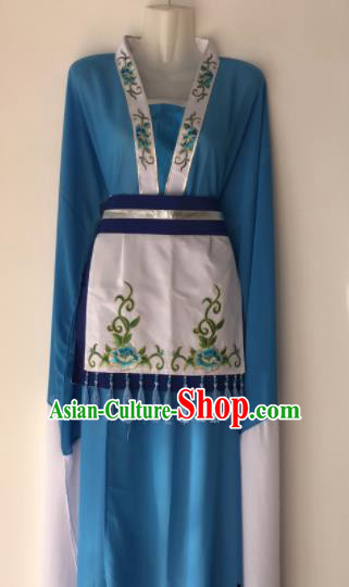 Traditional Chinese Handmade Beijing Opera Village Girl Costumes Ancient Peri Princess Blue Dress for Women