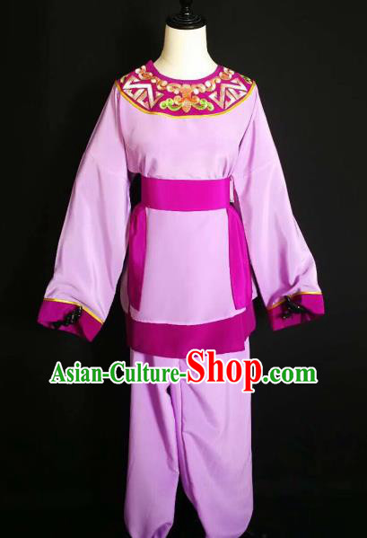 Traditional Chinese Huangmei Opera Servant Purple Costumes Ancient Livehand Clothing for Men