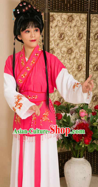 Traditional Chinese Handmade Beijing Opera Young Lady Rosy Dress Ancient Maidservants Costumes for Women