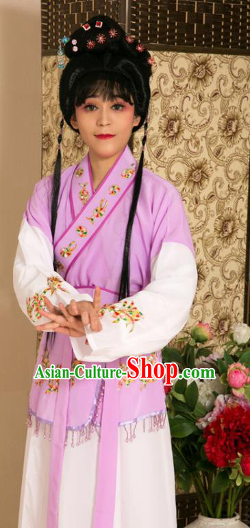 Traditional Chinese Handmade Beijing Opera Young Lady Purple Dress Ancient Maidservants Costumes for Women