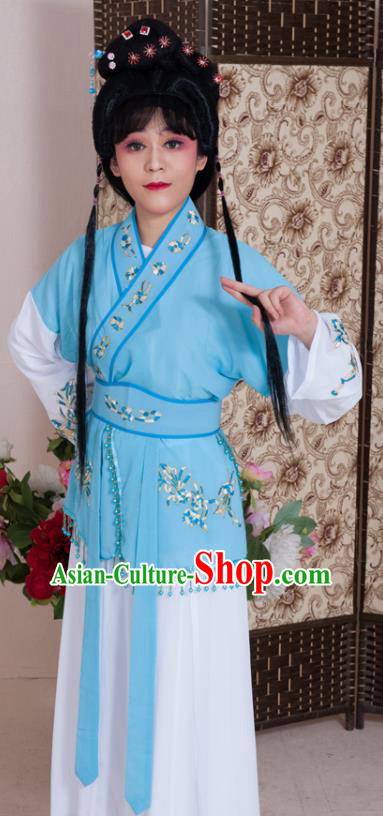 Traditional Chinese Handmade Beijing Opera Young Lady Blue Dress Ancient Maidservants Costumes for Women