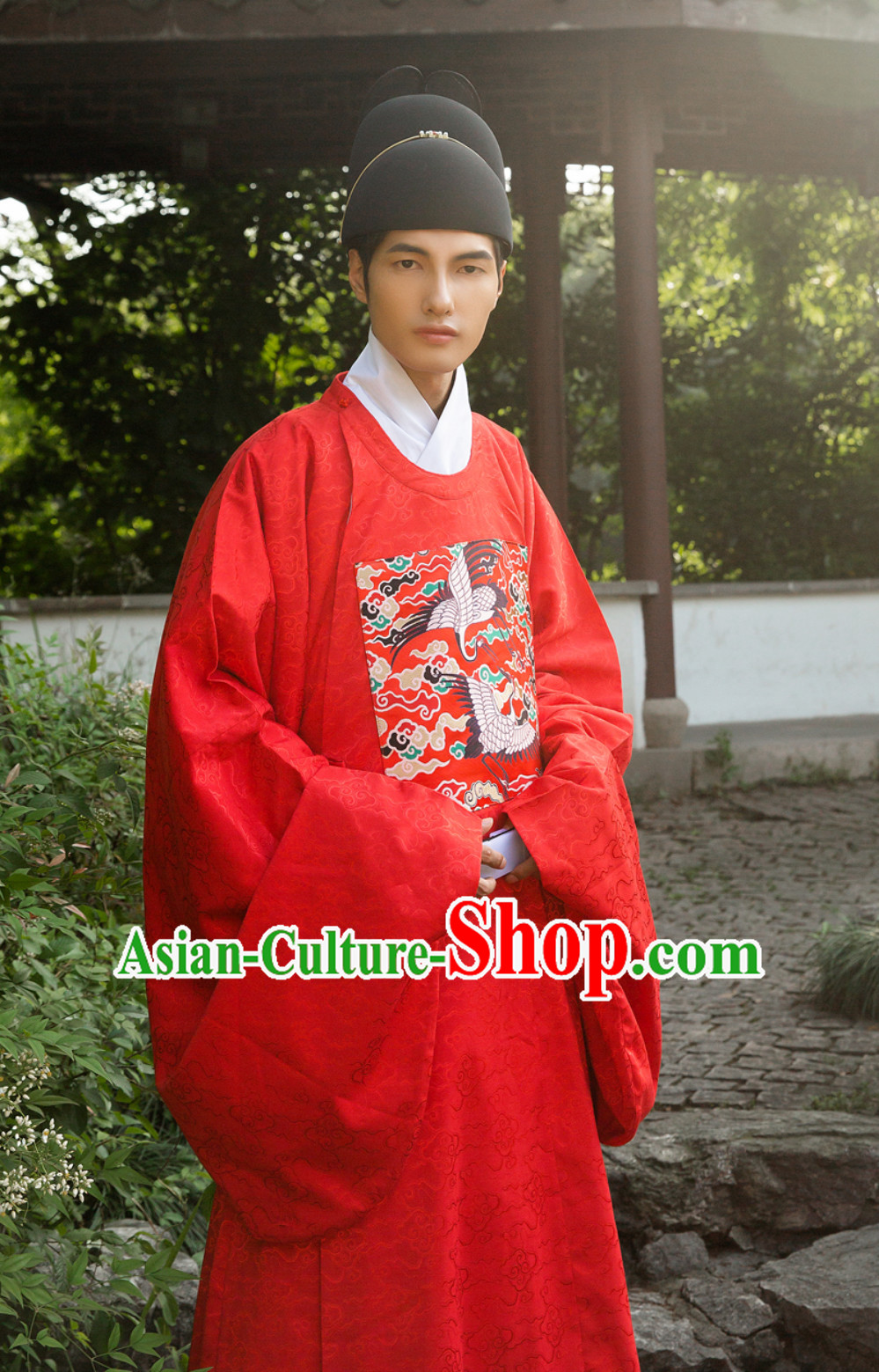 Ancient Chinese Ming Dynasty Government Official Robe Film Costumes and Hat Complete Set for Men