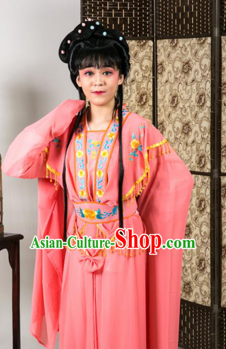 Handmade Traditional Chinese Beijing Opera Diva Rosy Dress Ancient Nobility Lady Costumes for Women