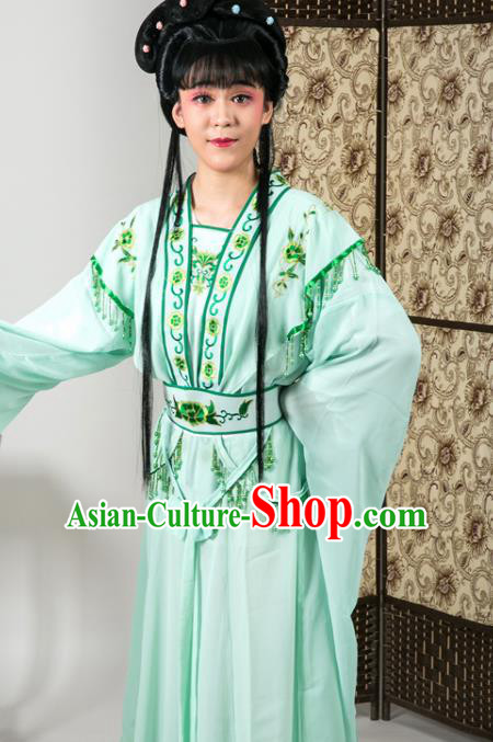 Handmade Traditional Chinese Beijing Opera Diva Green Dress Ancient Nobility Lady Costumes for Women