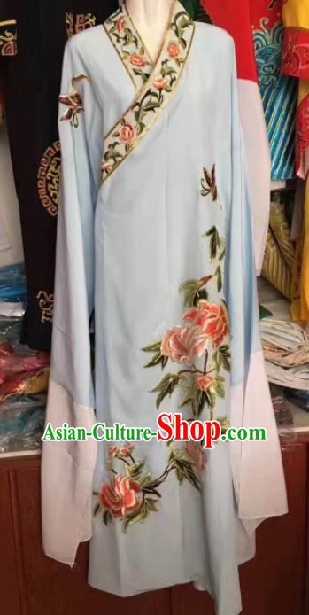 Traditional Chinese Huangmei Opera Niche Embroidered Light Blue Robe Ancient Nobility Childe Costume for Men