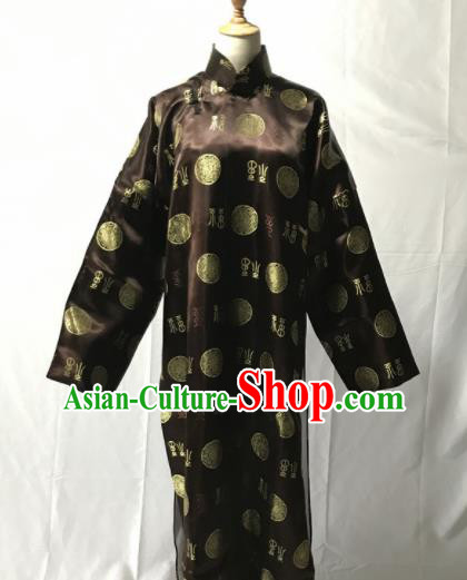 Traditional Chinese Huangmei Opera Niche Brown Long Gown Ancient Qing Dynasty Prince Costume for Men