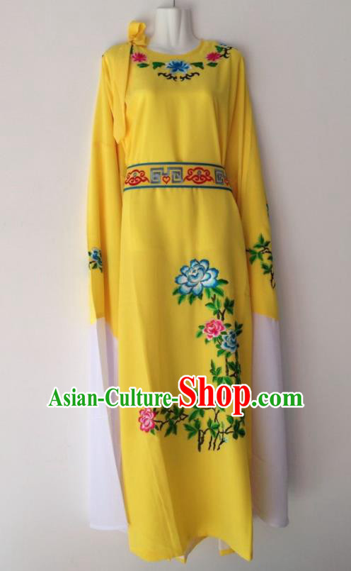Traditional Chinese Huangmei Opera Niche Bright Yellow Robe Ancient Gifted Scholar Costume for Men