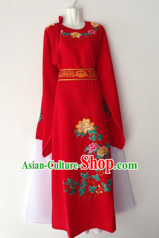 Traditional Chinese Huangmei Opera Niche Red Robe Ancient Gifted Scholar Costume for Men