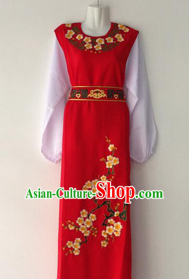 Traditional Chinese Huangmei Opera Niche Embroidered Plum Red Robe Ancient Gifted Scholar Costume for Men