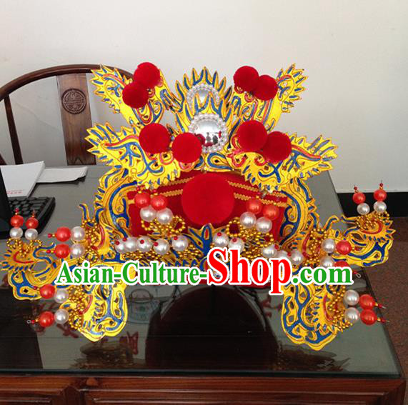 Traditional Chinese Beijing Opera Prime Minister Red Hat Ancient Chancellor Headwear for Men