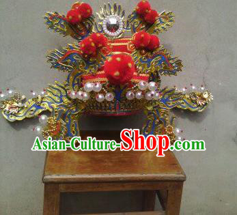 Traditional Chinese Beijing Opera Chancellor Hat Ancient Prime Minister Helmet Headwear for Men