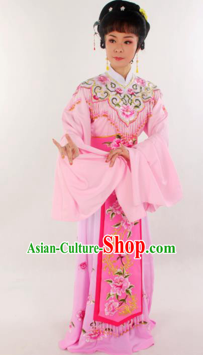Handmade Traditional Chinese Beijing Opera Hua Tan Diva Pink Dress Ancient Imperial Consort Costumes for Women