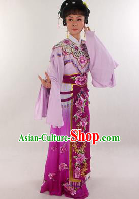 Handmade Traditional Chinese Beijing Opera Hua Tan Diva Purple Dress Ancient Imperial Consort Costumes for Women