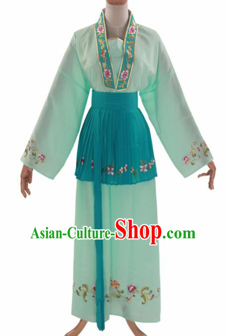 Handmade Traditional Chinese Beijing Opera Young Lady Light Green Clothing Ancient Maidservants Costumes for Women