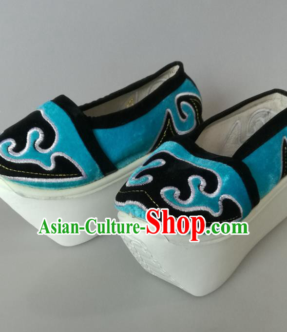 Traditional Chinese Beijing Opera Niche Blue Shoes Handmade Ancient Scholar Hanfu Shoes for Men