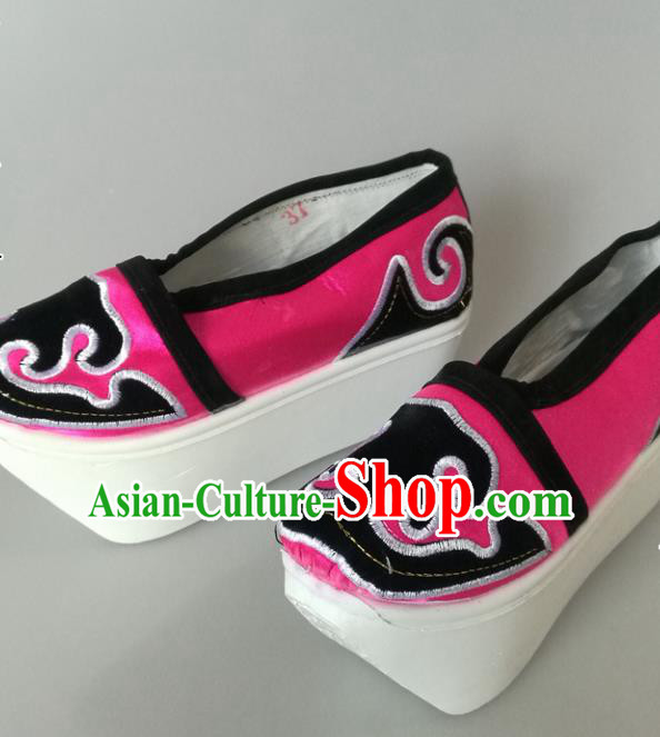 Traditional Chinese Beijing Opera Niche Rosy Shoes Handmade Ancient Scholar Hanfu Shoes for Men