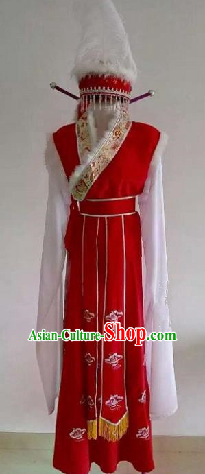 Handmade Traditional Chinese Beijing Opera Ethnic Princess Red Dress Ancient Court Lady Costumes and Hat for Women