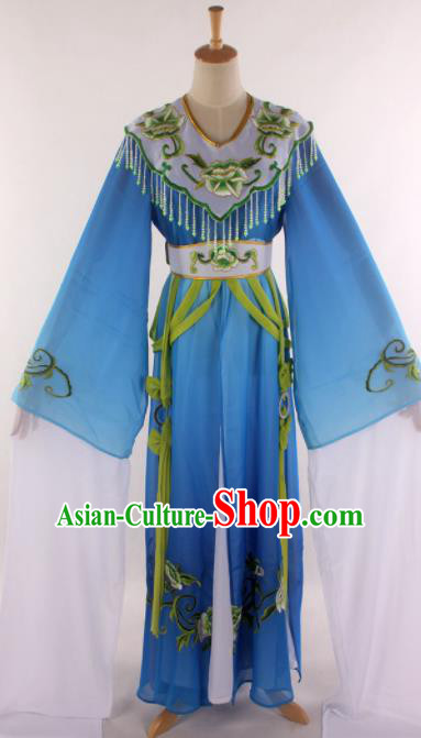 Handmade Traditional Chinese Beijing Opera Princess Blue Dress Ancient Court Lady Costumes for Women
