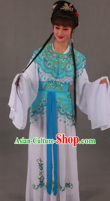 Handmade Traditional Chinese Beijing Opera Peri Blue Dress Ancient Nobility Lady Costumes for Women
