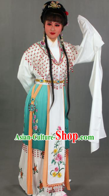 Traditional Chinese Beijing Opera Actress Green Dress Ancient Court Princess Costumes for Women