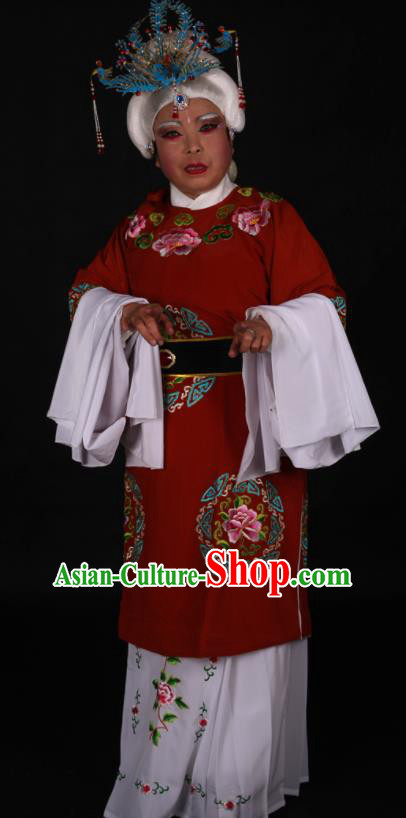 Traditional Chinese Peking Opera Stand By Red Dress Ancient Dowager Countess Costume for Women