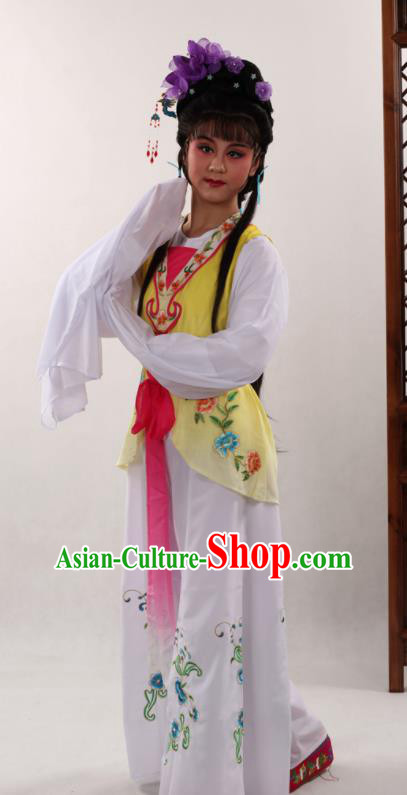 Traditional Chinese Peking Opera Maidservants Yellow Dress Ancient Servant Girl Costume for Women