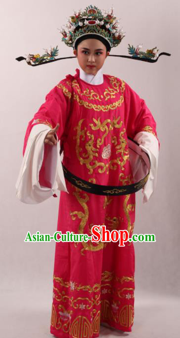 Traditional Chinese Huangmei Opera Niche Rosy Robe Ancient Number One Scholar Embroidered Costume for Men