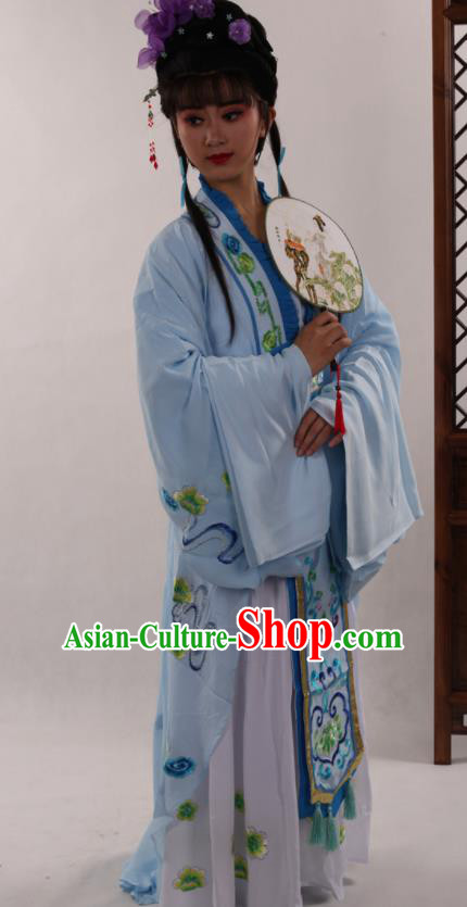 Traditional Chinese Peking Opera Diva Blue Dress Ancient Court Princess Costume for Women