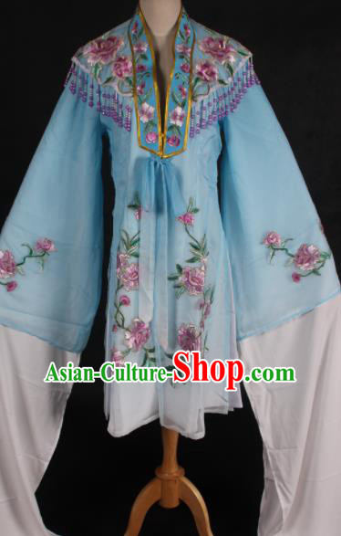 Traditional Chinese Peking Opera Diva Blue Dress Ancient Countess Costume for Women