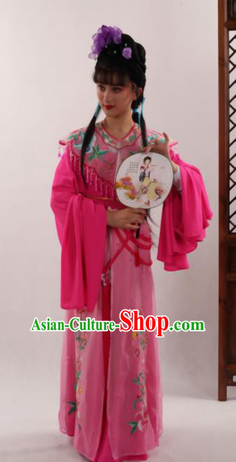 Traditional Chinese Peking Opera Diva Rosy Dress Ancient Goddess Princess Costume for Women