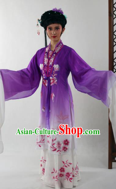 Traditional Chinese Shaoxing Opera Diva Purple Dress Ancient Peking Opera Nobility Lady Costume for Women