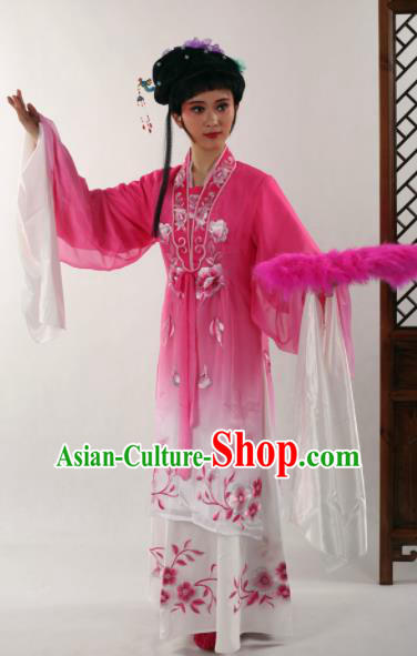 Traditional Chinese Shaoxing Opera Diva Rosy Dress Ancient Peking Opera Nobility Lady Costume for Women