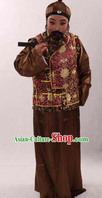 Traditional Chinese Shaoxing Opera Costume Ancient Qing Dynasty Long Gown and Mandarin Jacket for Men