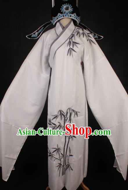 Traditional Chinese Shaoxing Opera Niche White Robe Ancient Gifted Scholar Embroidered Costume for Men