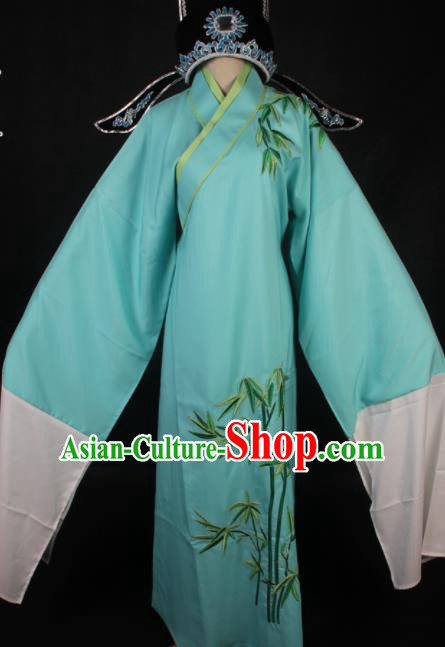 Traditional Chinese Shaoxing Opera Niche Blue Robe Ancient Gifted Scholar Embroidered Costume for Men