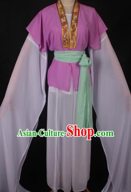 Traditional Chinese Shaoxing Opera Maidservants Purple Dress Ancient Peking Opera Village Girl Costume for Women