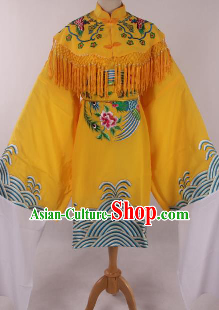 Traditional Chinese Shaoxing Opera Queen Yellow Dress Ancient Peking Opera Diva Costume for Women
