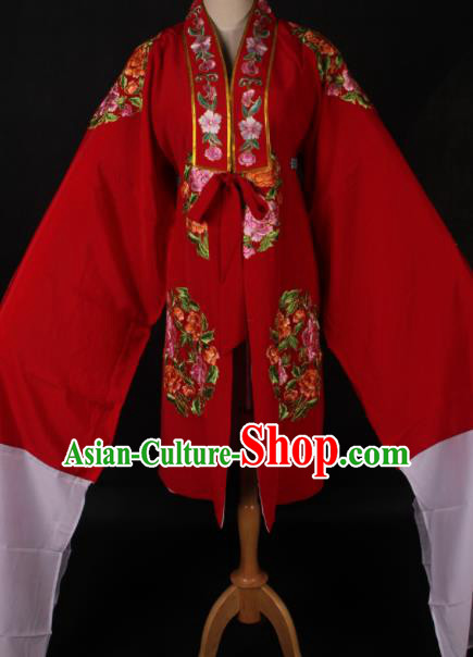 Traditional Chinese Shaoxing Opera Queen Red Cloak Ancient Peking Opera Diva Costume for Women
