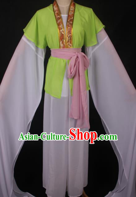 Traditional Chinese Shaoxing Opera Maidservants Green Dress Ancient Peking Opera Village Girl Costume for Women