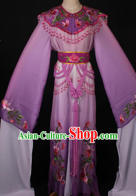 Traditional Chinese Shaoxing Opera Princess Embroidered Purple Dress Ancient Peking Opera Diva Costume for Women