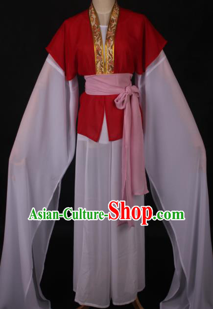 Traditional Chinese Shaoxing Opera Maidservants Red Dress Ancient Peking Opera Village Girl Costume for Women