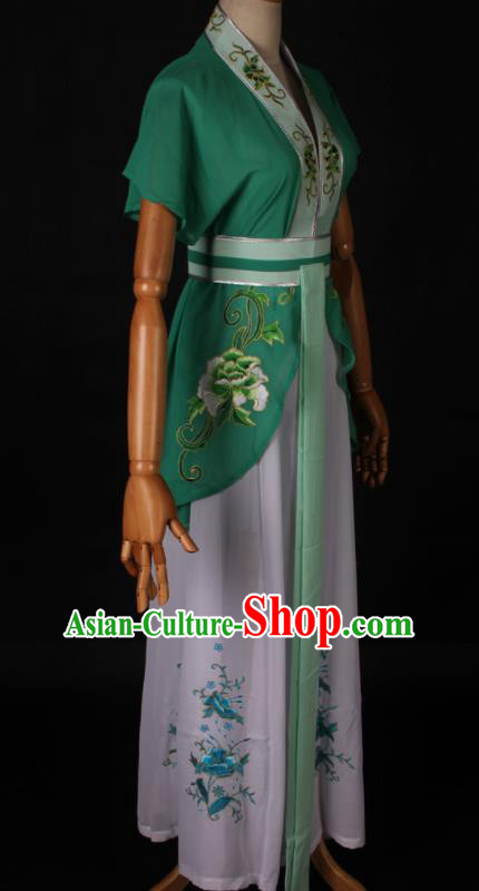 Traditional Chinese Shaoxing Opera Maidservant Green Dress Ancient Peking Opera Poor Lady Costume for Women